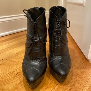 Prada leather lace up platform ankle boots